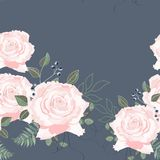 Seamless pattern with spring flowers and roses. Hand drawn background. royalty free illustration