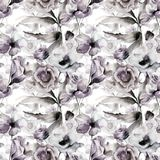 Seamless pattern with spring flowers. Original watercolor illustration Royalty Free Stock Image