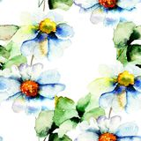Seamless pattern with spring flowers. Watercolor illustration Royalty Free Stock Photo