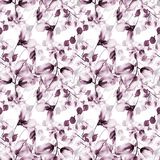 Seamless pattern with spring flowers. Watercolor illustration Royalty Free Stock Image