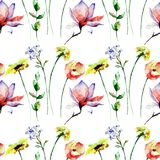 Seamless pattern with Spring flowers. Watercolor illustration Royalty Free Stock Photos