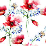 Seamless pattern with spring flowers Royalty Free Stock Image