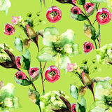 Seamless pattern with Spring flowers Stock Photos