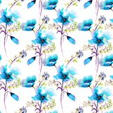 Seamless pattern with spring flowers. Watercolor illustration, Tile for wallpaper or fabric Royalty Free Stock Image