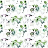 Seamless pattern with spring flowers. Watercolor painting Stock Images