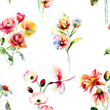Seamless pattern with spring flowers Stock Images