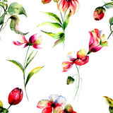 Seamless pattern with spring flowers Royalty Free Stock Images