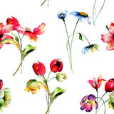 Seamless pattern with spring flowers Stock Photo