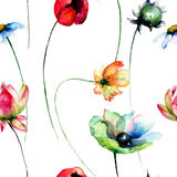 Seamless pattern with spring flowers Royalty Free Stock Photos