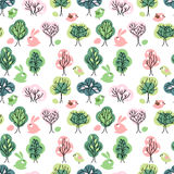 Seamless pattern with spring forest. Royalty Free Stock Photo