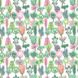 Seamless pattern with spring forest. Stock Photo