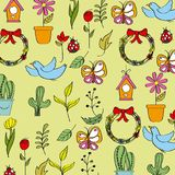 Seamless pattern spring season icons decoration Royalty Free Stock Image