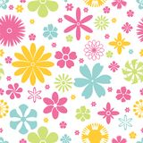Seamless pattern of spring and summer flowers Stock Photo