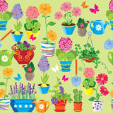 Seamless pattern with spring and summer flowers in pots. Royalty Free Stock Images