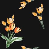 Seamless pattern of spring tulips with orange flowers on the black background. Watercolor stock images