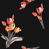Seamless pattern of spring tulips with red flowers on the black background. Watercolor stock image