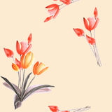 Seamless pattern of spring tulips with red flowers on a light beige background. Watercolor Royalty Free Stock Image