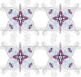 Seamless pattern. Seamless spring white floral pattern with colorful butterflies and flowers vector Royalty Free Stock Image