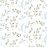 Seamless pattern with spring willow flowers and leaves. Easter Hand drawn background with pussy-willow branch. floral