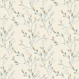 Seamless pattern with spring willow flowers and leaves. Easter Hand drawn background with pussy-willow branch. floral. Pattern for wallpaper or textile royalty free illustration