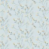 Seamless pattern with spring willow flowers and leaves. Easter Hand drawn background with pussy-willow branch. floral. Pattern for wallpaper or textile vector illustration
