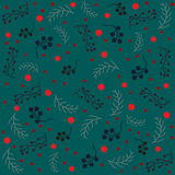 Seamless pattern with spruce branches and red berries. Vector illustration. Winter Collection. Ash berries Stock Photo