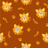 Seamless pattern square cat and fish. In vector Stock Photo
