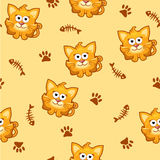 Seamless pattern square cat and fish. In vector Royalty Free Stock Photography