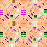 Seamless pattern square Chinese Feng Shui Bagua pink.  Royalty Free Stock Images