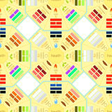 Seamless pattern square Chinese Feng Shui Bagua.  Royalty Free Stock Photos