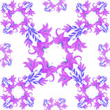 Seamless pattern - a square with a purple lily. vector illustrat Royalty Free Stock Images
