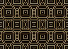 Seamless pattern with squares, black gold diagonal braided striped lines. Vector ornamental background royalty free illustration