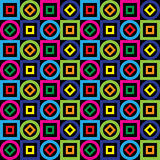 Seamless pattern. Squares, circles, diamonds on a black background. Vector. Royalty Free Stock Images