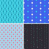 Seamless pattern with squares and circles on lines Royalty Free Stock Photos