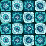 Seamless pattern with squares and flowers Royalty Free Stock Photo