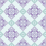Seamless pattern with squares from green and violet outlines on light blue or green background. Ornamental pattern from curve line Royalty Free Stock Image