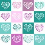 Seamless pattern of squares with hearts stock illustration