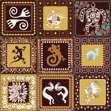 Pattern with imitation of elements of rock art. Seamless pattern with squares pattern with imitation of elements of rock art of ancient Indians, Aztecs, cavemen Stock Images