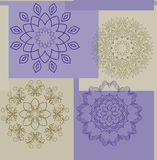 Seamless pattern of squares and laces of beige and violet, for fabric, oilcloth, tiles of wrapping paper, vector Royalty Free Stock Image