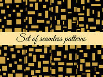 Seamless pattern with squares and rectangles. Pattern with squares and rectangles. Gold and black. Stock Photo