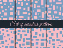 Seamless pattern with squares and rectangles. Pattern with squares and rectangles. Rose quartz and serenity. Stock Photo