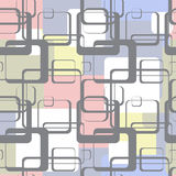 Seamless pattern of squares with rounded corners on a colored background. Gray squares are arranged in random order on a color background Stock Photos