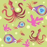 Seamless pattern with squid, nautilus and coral stock illustration