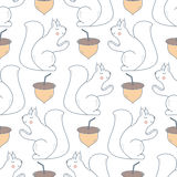 Seamless Pattern with Squirrel and Acorn Stock Image