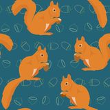Seamless pattern with squirrels Royalty Free Stock Photo