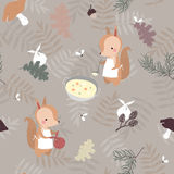 Seamless pattern with squirrels Stock Image