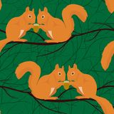 Seamless pattern with squirrels pairs Stock Image