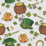 Seamless pattern St. Patrick day. Background in irish vintage style. I love Ireland. Royalty Free Stock Photo