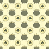 Seamless pattern St. Patrick`s Day. Bowler and coins. Vector illustration Stock Photography
