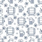 Seamless pattern. St. Patrick\'s Day. Pab. Ireland. Seamless pattern with clover leaves, beer barrel, beer mug. St. Patrick\'s Day. Holiday background. Irish royalty free illustration